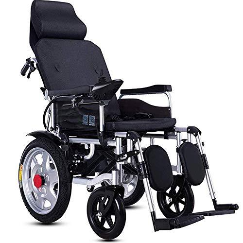 LAYG Elektrorollstuhl Faltbar Leicht,Lithiumbatterie Elektro Mobilitätshilfe Elektrischer Rollstuhl,Medizinischer Tragbare Ältere Behinderte Hilfe Auto,Rückenlehne Einstellen,Flach Liegen,Joystic