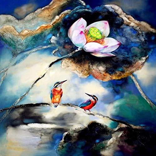 LzxcJ Full DIY Diamond Painting Kit Lotus Flower and Bird Cross Stitch Diamond Embroidery Patterns Rhinestones Mosaic Home Decor 11.8 X 11.8 Inch