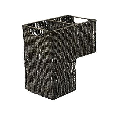 KOUBOO 1060066 Wicker Stair Step Basket in Wash, 15  x 9.5  x 15.75 , Dark Brown