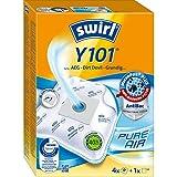 Swirl Y 101 MicroPor Plus Staubsaugerbeutel für AEG, Dirt Devil, Grundig Staubsauger, Anti-Allergen-Filter, 4 Stück inkl. Filter