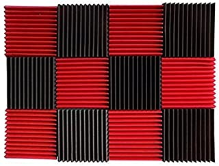 "(12 Pk) Red/Charcoal acoustic foam tiles soundproofing foam panels sound insulation soundproof foam padding sound dampening Studio sound proof padding 1"" x 12"" x 12"""