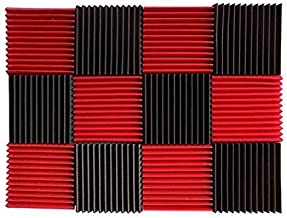 (12 Pk) Red / Charcoal acoustic foam tiles soundproofing foam panels sound insulation soundproof foam padding sound dampening Studio sound proof padding 1
