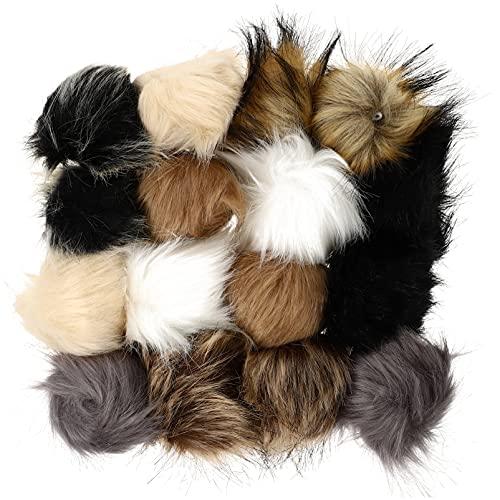 FAVOMOTO 16 Piezas de Bolas de Piel de Simulación DIY Mullido Pom Pom Ropa Sombreros Bola de Piel Ornamentos Faux Fox Fur Pompones Accesorios para La Cabeza Sombreros Tejidos Bufandas