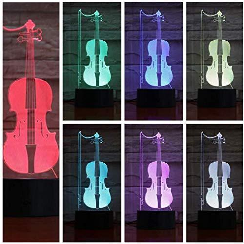 3D Illusion LED USB violon Veilleuse avec capteur tactile 7 couleurs RVB for enfants Garçons enfants Cadeaux musique Chambre Bureau Instrument Décor Atmosphère Veilleuse lumière de nuit