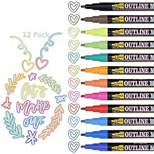 12 Farben Double Line Pens, Linkbro Outline Stifte Glitzerstifte Wasserdicht Schnelltrocknende Outline Marker Pen für Basteln, Steine, Papier, Grußkarten, Scrapbook
