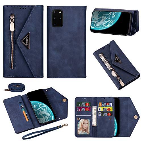 Funda para Galaxy A52, Samsung A52 5G con cremallera de piel, funda tipo cartera, funda de parachoques para mujer y niña (azul)