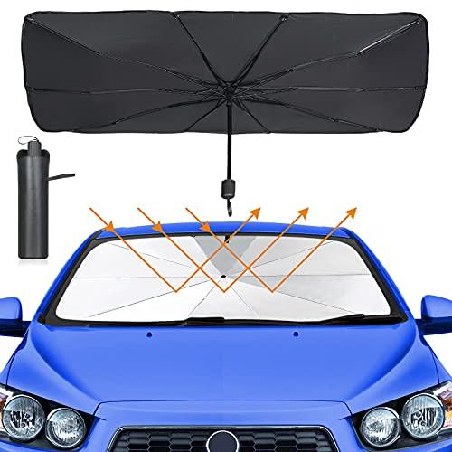 Sombrilla Paraguas del Coche, Weinsamkeit Plegable Parasol Coche Delantero Protector Anti UV Rayos, Parasol Sombrilla para la Mayoría de Coche y SUV 57 x 31 Pulgadas