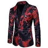 ZhuiKun Chaqueta de Traje Slim Fit Blazer Estampada Uno Botón Trajes Abrigos para Hombre Rojo XL