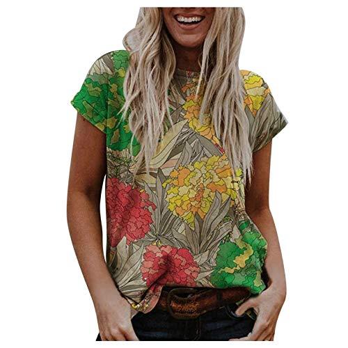 HeroHarold Camiseta de manga corta estilo bohemio vintage con estampado floral y cuello redondo para uso diario en verano.