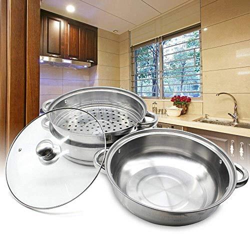 Kaibrite Vaporera con 3 niveles para cocinar, acero inoxidable, con tapa de...