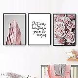 Pintura en lienzo, cartel de moda escandinavo, rosa, flor, pluma, estilo nórdico, arte de pared, impresión, imágenes modernas, decoración del hogar, 50x70cmx3 sin marco