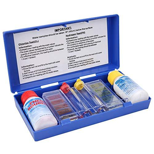 Haofy Schwimmbadwassertestkit Spa Chemietester für PH- und Chlormessung, tragbare Box zur Lagerung und zum Tragen