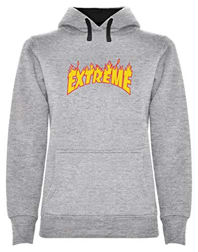Skateboard Sweat Shirt - Warm Flame - Extreme Glisse Sweatshirt Capuche Femme Small Gris Chiné