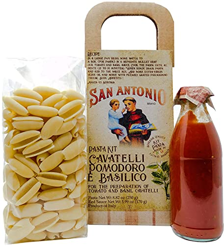 Authentic Gourmet Italian Food Gift, Artisan Pasta Kit with Cavatelli Pasta with Tomato and Basil Sauce, Product of Italy, Gifting for Holiday, Birthday, Christmas, Thanksgiving, Mothers and Fathers Day, Get Well Gifts