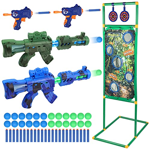 Welltin Shooting Game Toy for Ages 5 6 7 8+, 2pk Air Powered Toy Guns 2pk Blaster Guns with Shooting Target for Nerf, Boys and Girls, Indoor&Outdoor, Ideal Birthday Toys Halloween Christmas Xmas Gifts