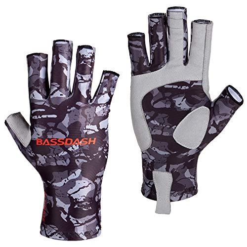 Bassdash ALTIMATE - Guantes de pesca sin dedos con protección solar UPF 50+ para hombre y mujer, guantes UV para kayak, senderismo, ciclismo, conducción, tiro, XL, Negro camuflado