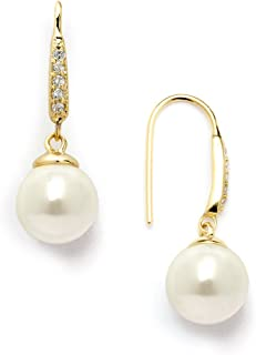 14K Gold Plated Vintage French Wire Ivory Pearl Drop Earrings with Pave CZ - Bridal or Everyday