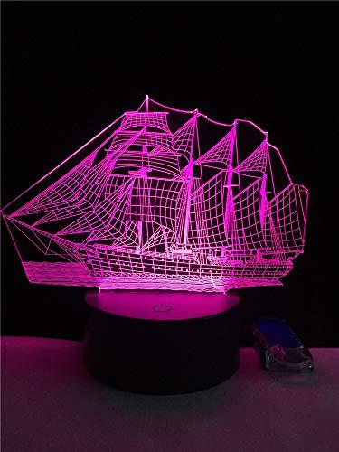 Luz de noche LED,luz de noche con luz de noche cambiante de 7 colores,Forma de barco,bebé,niños,habitación infantil,Lámpara de mesa,Luz del sueño,regalo de vacaciones