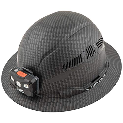 Klein Tools 60347 Hard Hat, Vented Full Brim, Class C, Premium KARBN Pattern, Rechargeable Lamp, Padded Sweat-Wicking Sweatband, Top Pad