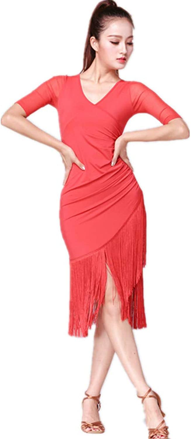TALENT PRO V Neck Women Latin Dance Dress Modern Ballroom Carmen Fringe Tango Dance Skirt Red