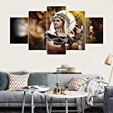 5 piezas cuadro en lienzo Cuadro compuesto por 5 lienzos impresos en HD, utilizados para decoración del hogar y carteles Tocado de Plumas Nativo Americano Niña India (150x80cm Sin Marco)