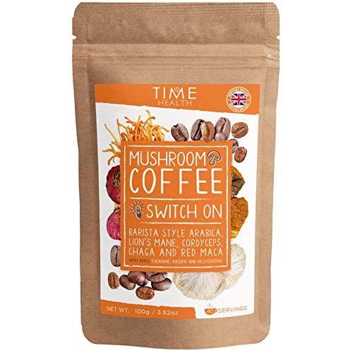 Neu: Pilzkaffee (Instant) – Arabica-Kaffee, Hericium, Cordyceps, Chaga, Maca, L-Theanin, Bacopa & Resveratrol – Nootropische Mischung für Energie & Fokus (100 g Pulver pro Beutel)