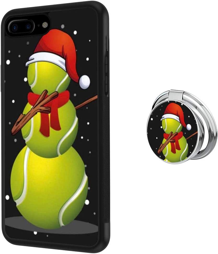 iPhone 7 Plus 8 Plus Case with Ring Holder Stand Holder 360 Rotation Ring Grip Kickstand Soft TPU and PC Anti-Slippery Design Protection Bumper for iPhone 7 Plus 8 Plus (Christmas Tennis Snowman)