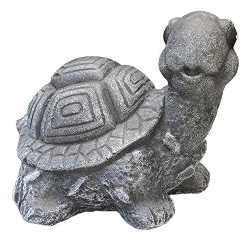 Steinfigur Schildkröte, 112/1 Gartenfigur Steinguss Tierfigur Basaltgrau