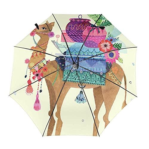 Paraguas automático de tres pliegues 3d impreso desierto camello y flores impermeable protección UV lluvia paraguas interior impresión para al aire libre