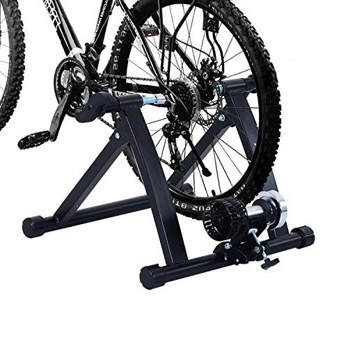 Home Trainer vélo Support d'entrainement Pliable pour vélo de Route VTT Acier Noir