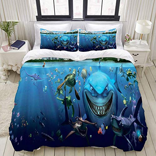 Nonun Duvet Cover,Shark Ocean Turtle Tropical Animal Underwater Sea World Scene Cartoon Finding Nemo,Bedding Set Ultra Comfy Lightweight Luxury Microfiber Sets (3pcs)