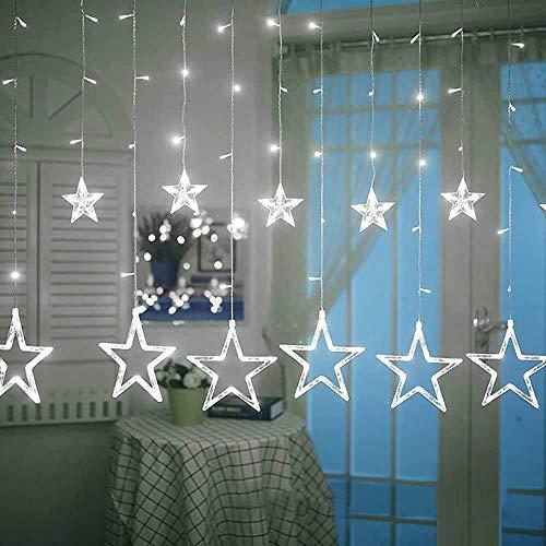 Estrella luces de la cortina, 2,5 M de hadas luces de cadena con 12 Estrellas 138pcs LED, 8 modos de ventana luces de la cortina, luces de Navidad/de la boda/decoraciones de jardín/fiesta (azul)