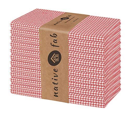 Native Fab Baumwolle Stoffservietten 46x46 cm 12er-Set für Veranstaltungen Hochzeit Restaurant regelmäßige Heimnutzung, Weich Bequem Maschinenwaschbar Wiederverwendbare Servietten Rot