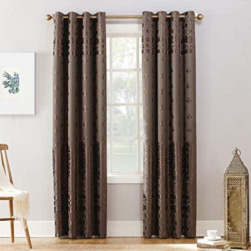 Sun Zero Elidah Medallion Bonded Velvet 100 Blackout Grommet Curtain Panel 50 x 95 Mocha product image