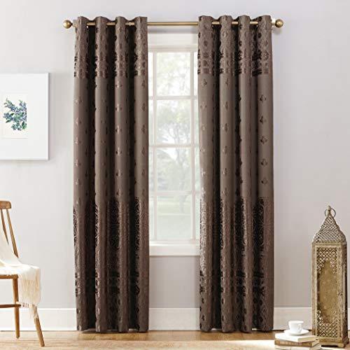 """Sun Zero Elidah Medallion Bonded Velvet 100% Blackout Grommet Curtain Panel, 50"""" x 84"""", Mocha"""