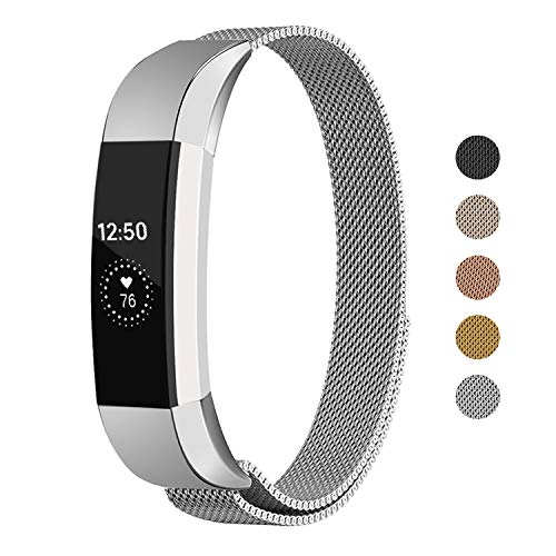 Keasy Replacement Metal Bands Compatible for Fitbit Alta and Fitbit Alta HR, Stainless Steel Replacement Bands for Women Men (Silver, Small)