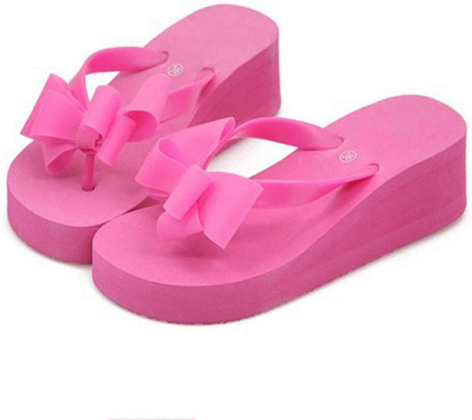 T-JULY Beach Sandals for Women Fashion Platform Mid Heel shoes Bowknot Slippers
