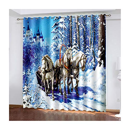 ANAZOZ 2 Paneles Cortinas Salon Cortinas Poliester Habitacion Caballos en la Nieve del Bosque Azul Blanco Cortinas Ventana 214x214CM