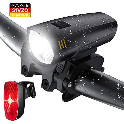 LIFEBEE Batterie LED Fahrradlicht Set, Fahrradbeleuchtung StVZO Zugelassen Frontlicht Rücklicht Fahrradlampe, 2 Licht-Modi, IPX5 Wasserdicht Fahrradlichter für Mountainbike, Batterie Nicht inklusive