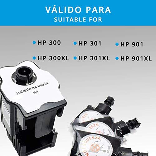 Kit de Recarga para Impresoras HP 300 / 300XL / 301 / 301XL / 302XL / 304XL / 901 / 901XL · Incluye Estación de Recarga y 3 Recargas de Color Negro (3 x 6 ml)