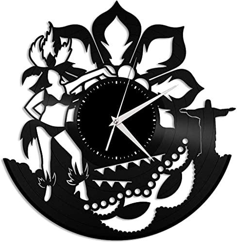 Obra de Arte Rio Carnival Reloj de Pared de Vinilo Reloj de Mesa de Registro de Vinilo Arte Colgante de Pared Decoración de habitación única Regalo Hecho a Mano