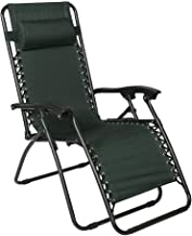 Timber Ridge Zero Gravity Lounge Chair Oversize Recliner for Outdoor Beach Patio Pool Support 300lbs (Forest Green with Table)