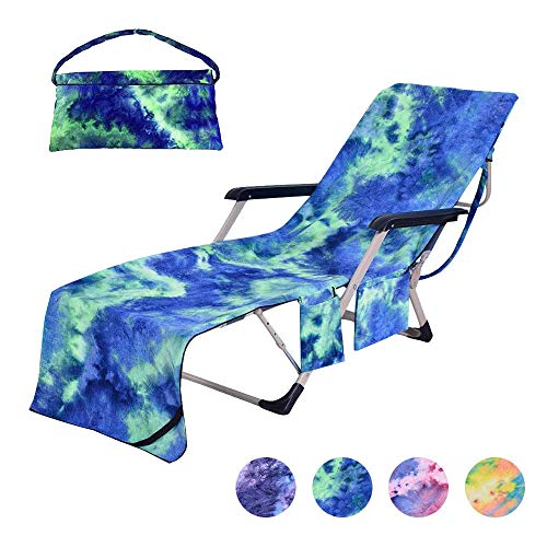 """Beach Chair Cover with Side Pockets,Microfiber Chaise Lounge Chair Towel Cover for for Sun Lounger Pool Sunbathing Garden Beach Hotel,Easy to Carry Around,No Sliding,Tie-Dye Blue(82.5"""" x 29.5"""")"""