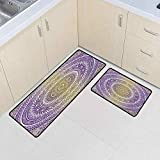 Yellow and Purple Kitchen Mats for Floor 20'x63'+20'x31', Tribal Vintage Karma in Cosmos Artsy Ombre Design Non-Slip Soft Mat, Mustard and Purple