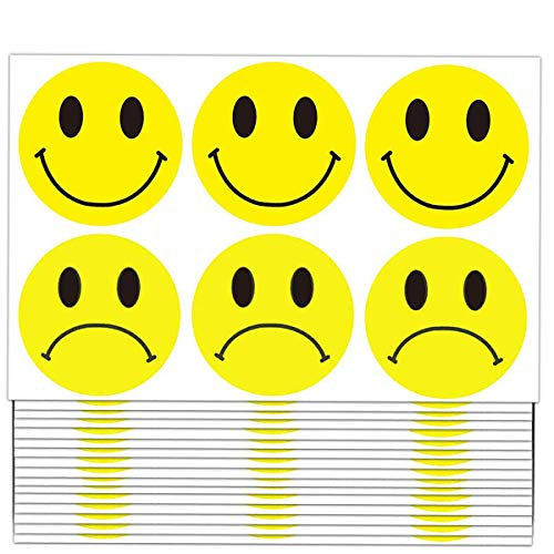 Yellow Smiley Face Happy Stickers and Sad Frowny Face Stickers - 2 Inch Round Circle Dots Teachers Labels Stickers (504 pcs)