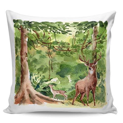 Ye Hua Square Canvas Throw Pillow Covers, Watercolor Theme Reindeer Zippered Pillow Shams Cases for Cushion/Office/Sofa/Bedroom Home Decor, Green Forest Trees