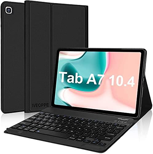 IVEOPPE Funda con Teclado para Samsung Galaxy Tab A7 2020 10.4'', Teclado Bluetooth Español Ñ para Samsung Galaxy Tab A7 T505/T500/T507, Negro