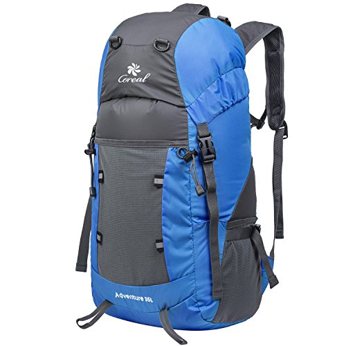 Coreal 35L Lightweight Foldable Travel Hiking Backpack Blue