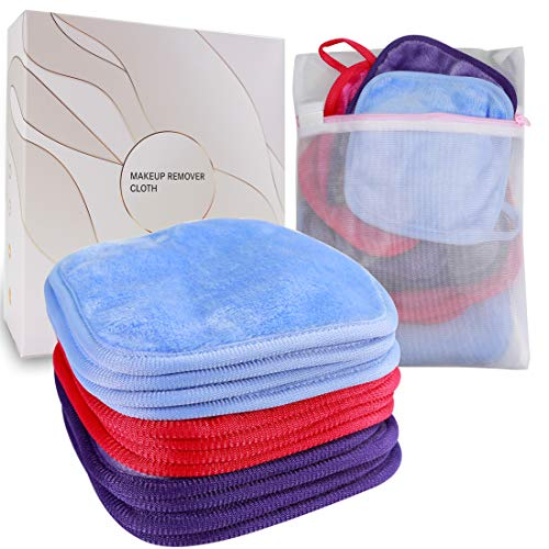 KODAMO | Reusable Makeup Remover Cloth 6 x 6 in 12 Pack - Microfiber Washable Facial Cleansing Towel for All Skin Types With Laundry Bag - Natural Eco-friendly Makeup Remover Towel