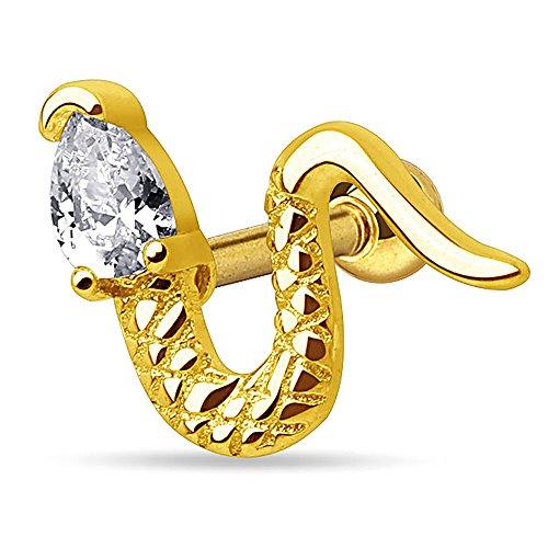 Autiga® Ohr Piercing Stecker Schlange Snake Zirkonia Kristall Tragus Helix Cartilage Barbell Gold